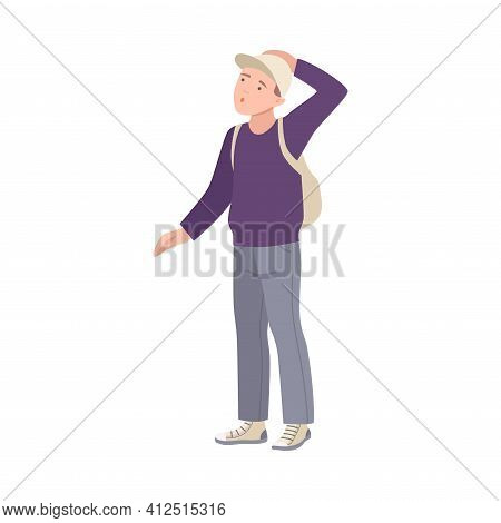 Man Tourist Character With Backpack On Excursion Or Sightseeing Tour Vector Illustration