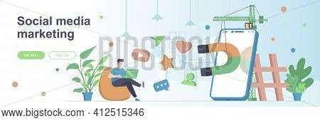 Social Media Marketing Landing Page With Man. Social Network Marketing Campaign Web Banner. Attracti