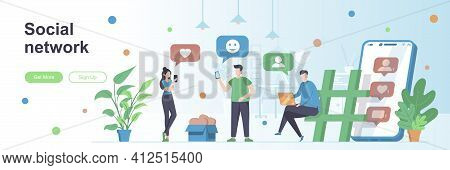 Social Network Landing Page With People Characters. Online Messaging Service Web Banner. Chatting Mo
