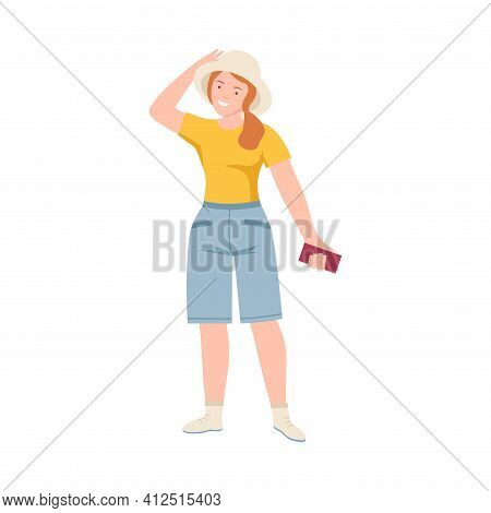 Woman Tourist Character In Hat With Smartphone On Excursion Or Sightseeing Tour Vector Illustration