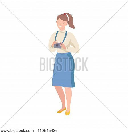 Young Woman As Tourist Character With Camera On Excursion Or Sightseeing Tour Vector Illustration