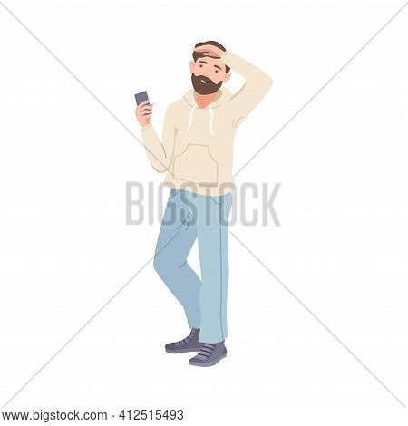 Bearded Man Tourist Character With Smartphone On Excursion Or Sightseeing Tour Vector Illustration