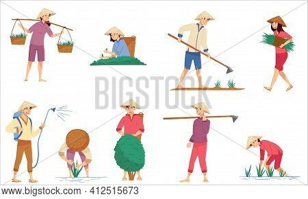 Vietnamese Farmer In Straw Conical Hat Cultivating Soil And Growing Crops And Plants Vector Illustra
