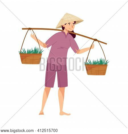 Vietnamese Woman Farmer In Straw Conical Hat Carrying Wicker Baskets With Rice Crop Vector Illustrat