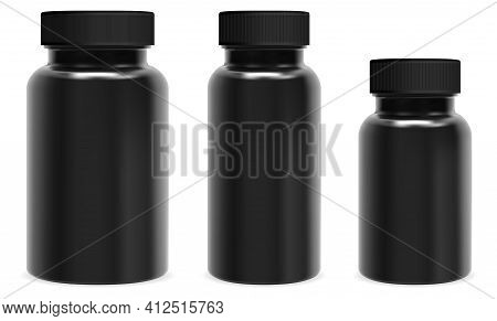 Black Capsule Bottle. Pill Jar Mockup, Medicine Container Plastic Package. Supplement Bottle Blank D