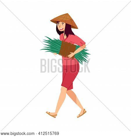 Vietnamese Woman Farmer In Straw Conical Hat Carrying Bunch Of Grass Blades As Rice Crop Vector Illu