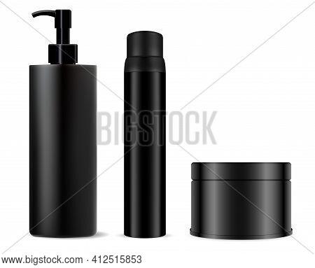 Black Cosmetic Bottle Mockup. Shampoo, Spray Package. Cream Jar, Men Gel Black Plastic Blank. Beauty