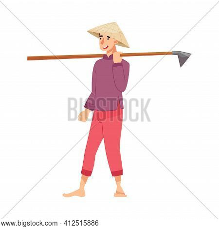 Vietnamese Man Farmer In Straw Conical Hat Carrying Hoe Vector Illustration