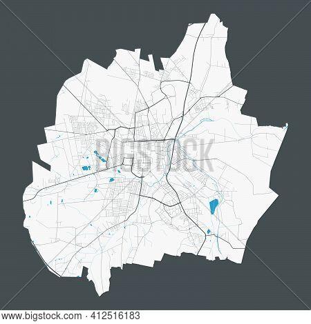 Czestochowa Map. Detailed Map Of Czestochowa City Administrative Area. Cityscape Panorama. Royalty F