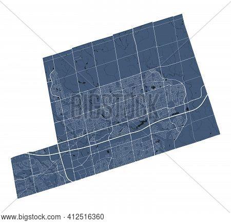 Markham Map. Detailed Vector Map Of Markham City Administrative Area. Cityscape Poster Metropolitan