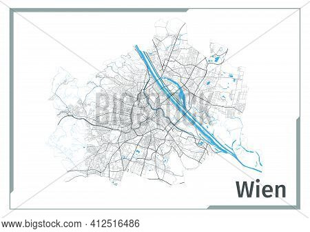 Vienna Map Poster, Administrative Area Plan View. Black, White And Blue Detailed Design Map Of Vienn