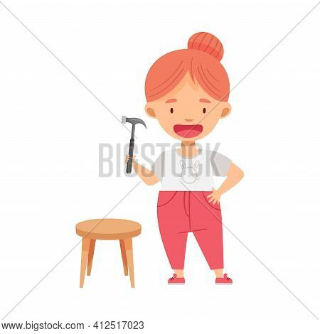 Smiling Redhead Girl With Hammer Woodworking Crafting Wooden Stool Vector Illustration