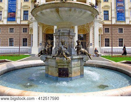 Bratislava, Slovakia - 10 Jun 2011: The Fountain In Bratislava, Slovakia