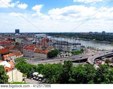 Bratislava, Slovakia - 10 Jun 2011: Danube River In Bratislava City, Slovakia