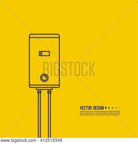 Home Water Heater. Vector Illustration Of A Boiler With Pipes On A Yellow Background.