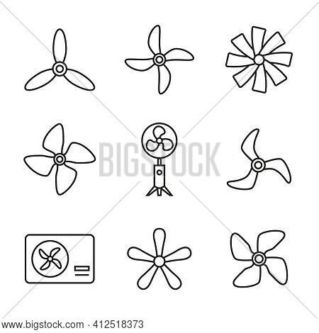 Vector Set Of Icons Of Fans, Propellers, Rotating Blades, Ventilator. Linear Style, Editable Stroke.