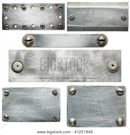 Metal plates with screws and rivets. Isolated textures