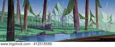 Rain In Coniferous Forest With Lake And Mountains