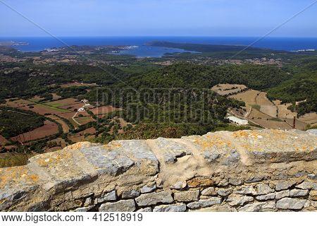 Es Mercadal, Menorca / Spain - June 25, 2016: Panoramic View From Summit Of Mount Toro (el Toro), Es