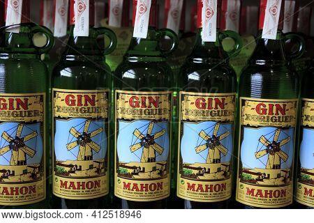 Mahon, Menorca / Spain - June 25, 2016: The Gin Xoriguer Bottles, Mao, Menorca, Balearic Islands, Sp