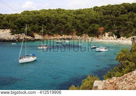 Es Migjorn Gran, Menorca / Spain - June 25, 2016: The Escorxada Bay, Es Migjorn Gran, Menorca, Balea