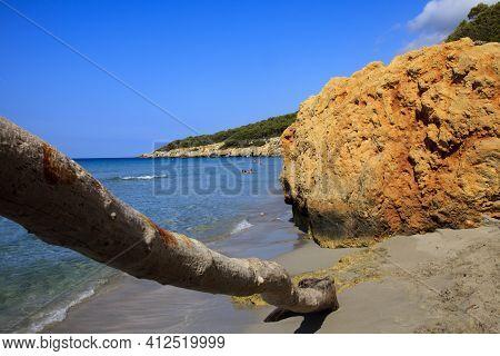 Sant Tomas, Menorca / Spain - June 25, 2016:  Trunk At Binigaus Beach, Sant Tomas, Menorca, Balearic