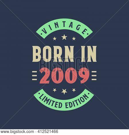 Vintage Born In 2009, Born In 2009 Retro Vintage Birthday Design