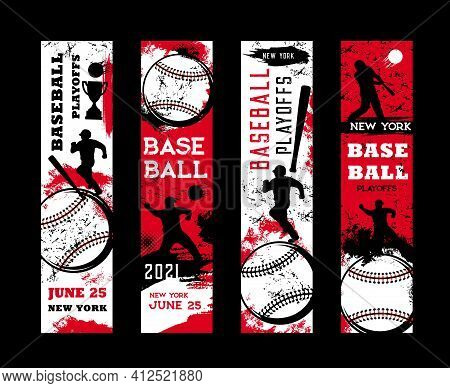 Baseball Playoffs Vector Flyers, Sport Tournament Vintage Grunge Cards With Baseball Player And Equi