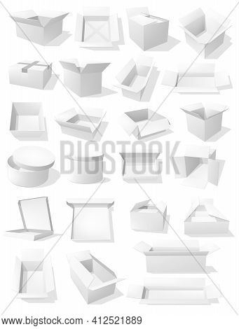 Carton Boxes, Vector Parcels For Goods Packaging, White Transportation Cardboard Containers. Drawers