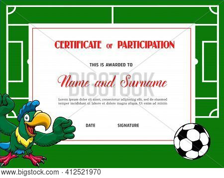 Certificate For Soccer Tournament Participation. Football Club Diploma Vector Template. Sports Award
