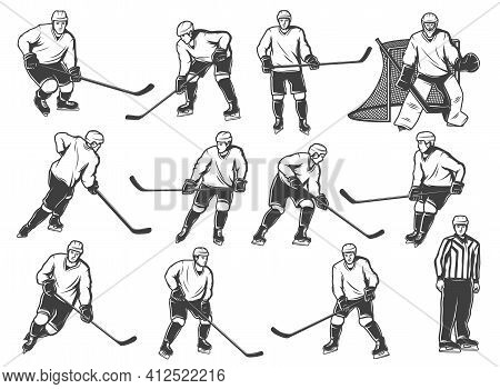 Ice Hokey Players Icon, Sport Team Playing On Ice Rink Arena, Vector Icons. Ice Hockey Team Players