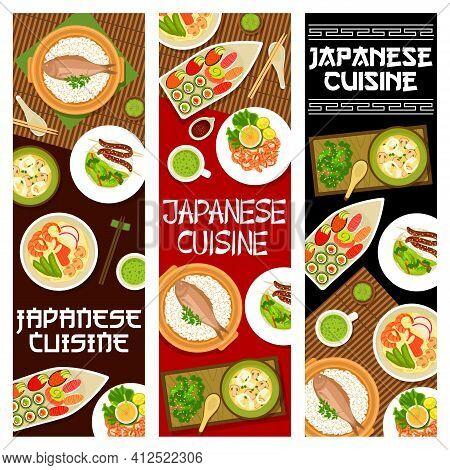 Japanese Food, Japan Menu Noodles Ramen And Sushi, Vector Restaurant Banners. Japanese Cuisine Asian