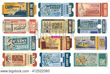 Portugal Travel Tickets, Lisbon Sightseeing Tours And Tourism Landmark Attractions, Vector Admission