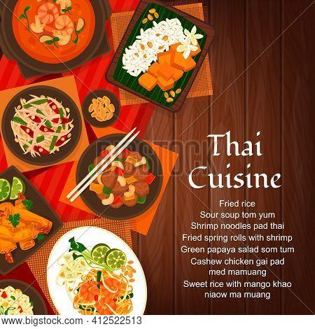 Thai Cuisine Vector Cashew Chicken Gai Pad Med Mamuang. Green Papaya Salad Som Tum And Sweet Rice Wi