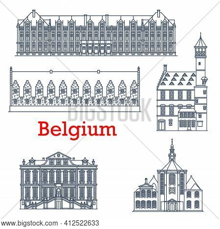 Belgium Travel Landmark Architecture, Liege Palaces, Cathedrals And Churches, Vector. Belgian Famous