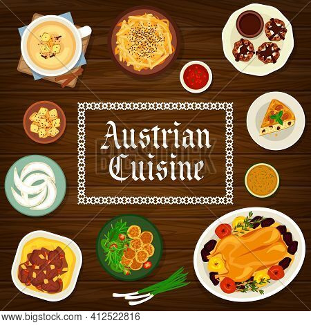 Austrian Cuisine Vector Almond Pie, Baked Goose With Apples, Crescent Cookies And Potato Cheese Dump