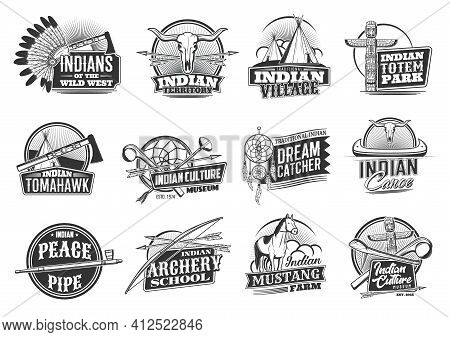 Indian Native Americans Icons, Wild West Culture And Traditions, Vector. Native American Indians Apa