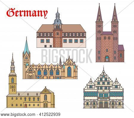 Germany Landmark Buildings Architecture In Westphalia, German Churches And Cathedrals, Vector. St Ki