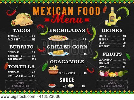 Mexican Food Menu, Mexico Cuisine Burritos And Tacos Bar Dishes, Vector. Mexican Cuisine Food, Cafe