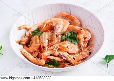 Prawns On Bowl. Shrimps, Prawns. Whole Boiled Shrimp. Seafood.