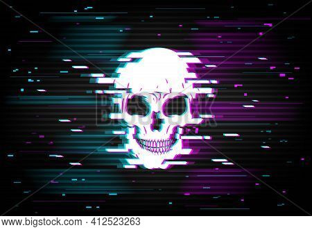 Human Skull On Glitching Display Backdrop. Danger Glitch Or Computer Program Bug, Hacker Attack Or C