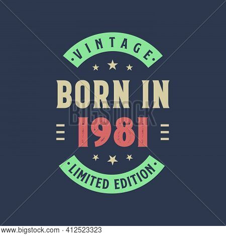 Vintage Born In 1981, Born In 1981 Retro Vintage Birthday Design