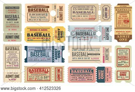 Vintage Tickets On Baseball Game. Sport Competition, Baseball Tournament Or Cup Admission Card, Stad