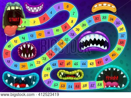 Kids Step Board Game Vector Template With Monster Toothy Mouths. Cartoon Boardgame With Numbers, Sta