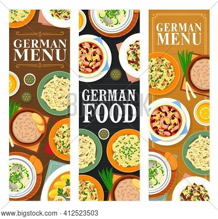 German Food Banners, Germany Cuisine Dishes Menu, Vector Bavarian Sauerkraut Salad Or Wurst Sausages