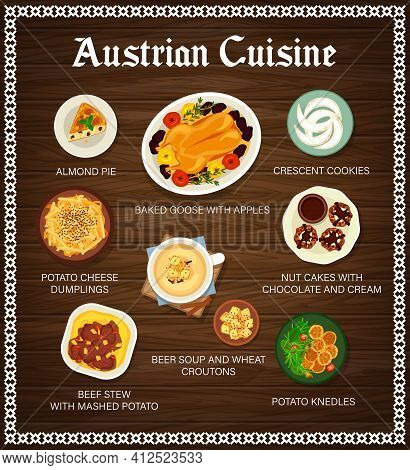 Austrian Cuisine Vector Menu Almond Pie, Baked Goose With Apples And Crescent Cookies, Potato Cheese