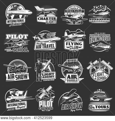 Aviation Vector Icons Vintage And Modern Planes. Flight School, Pilot Courses, Tours And Internation
