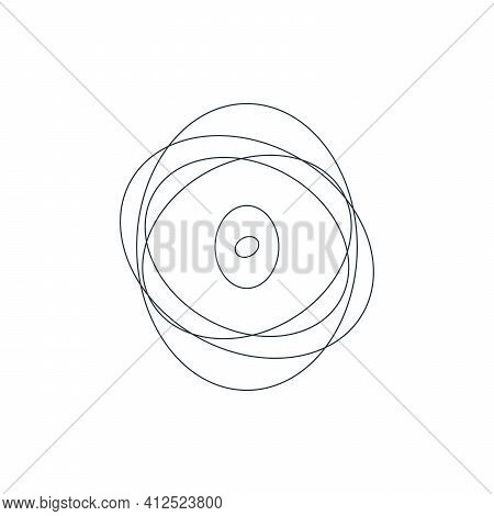 Vector Abstract Chaotic Circle Sketch Lines. Black Round Shape. Twisted Shape. Stock Vector Illustra