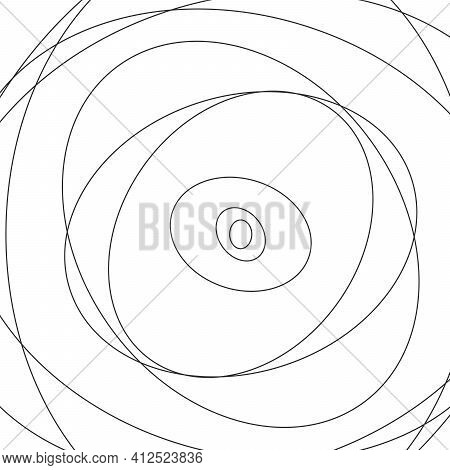 Vector Abstract Chaotic Circle Sketch Lines Backgrouind. Black Round Shape. Twisted Shape. Stock Vec