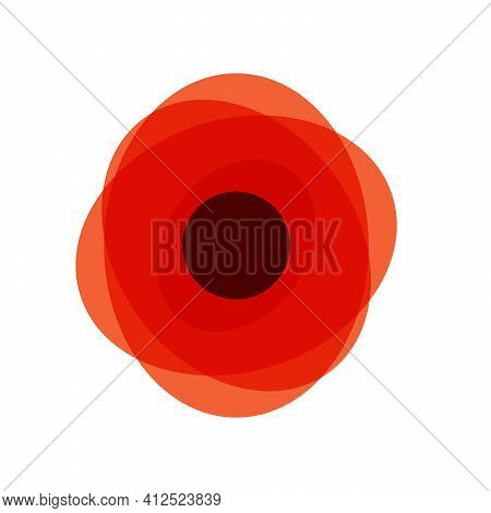 Red Poppy Icon, Poppy As A Remembrance Symbol, Stock Vector Illustration Isolated